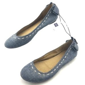GAP Chambray Ballet Flats Womens Size 7 Bow Heel